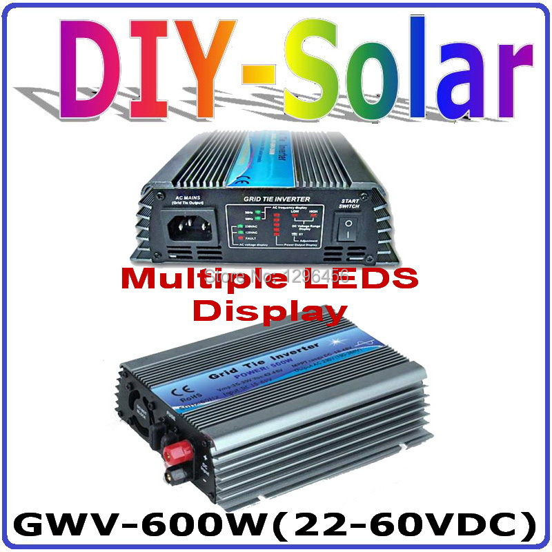 600W grid tie inverter 22-60VDC input for 24V/30V 60cells and 36V 72cells PV solar panels pure sine wave output on-grid inverter mini power on grid tie solar panel inverter with mppt function led output pure sine wave 600w 600watts micro inverter