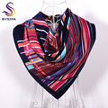 [BYSIFA] Navy Blue Striped Square Scarves 90*90cm Fashion Accessories Women Men All-Match Silk Scarf Shawl Spring Autumn Muffler