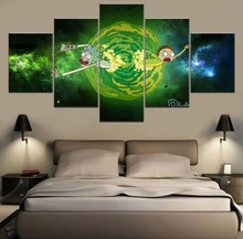 Rick and Morty Anime Wall Art Canvas Painting 5 Piece Modern HD Print For Living Room