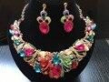 2017 Nueva Moda de nigeria Perlas Africanas de la boda Joyería Nupcial Conjuntos de Collar de Cristal Conjunto Dubai Sistemas de La Joyería Del Banquete de Boda CW-2