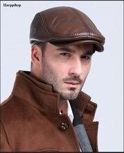 Boinas de invierno de cuero al aire libre de los hombres boinas de  protección de la oreja caliente 100% de cuero genuino de papá. 425eced92dd