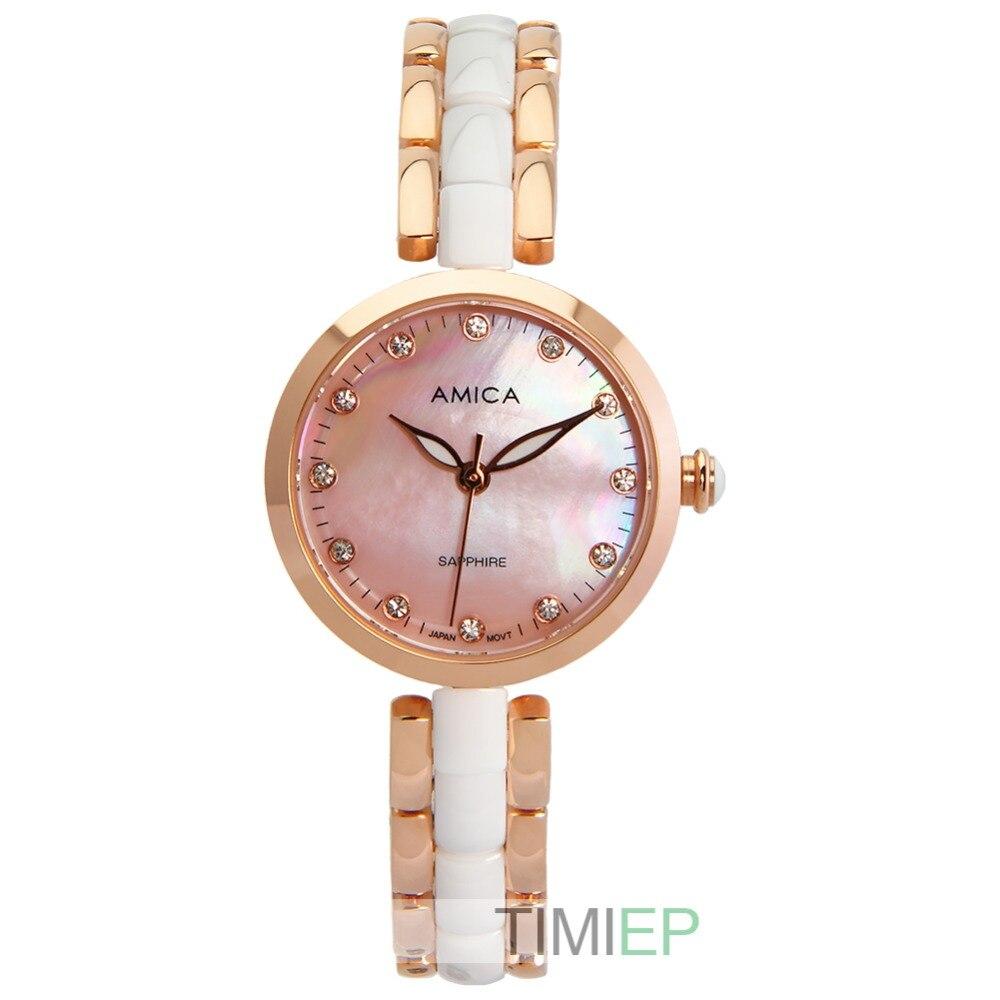 Amica Women's D-Ceramics Quartz Sapphire Rose Gold Tone Stainless Steel Wrist Watches A-1-2 amica women s d ceramics quartz sapphire silver tone stainless steel wrist watches a 1 5