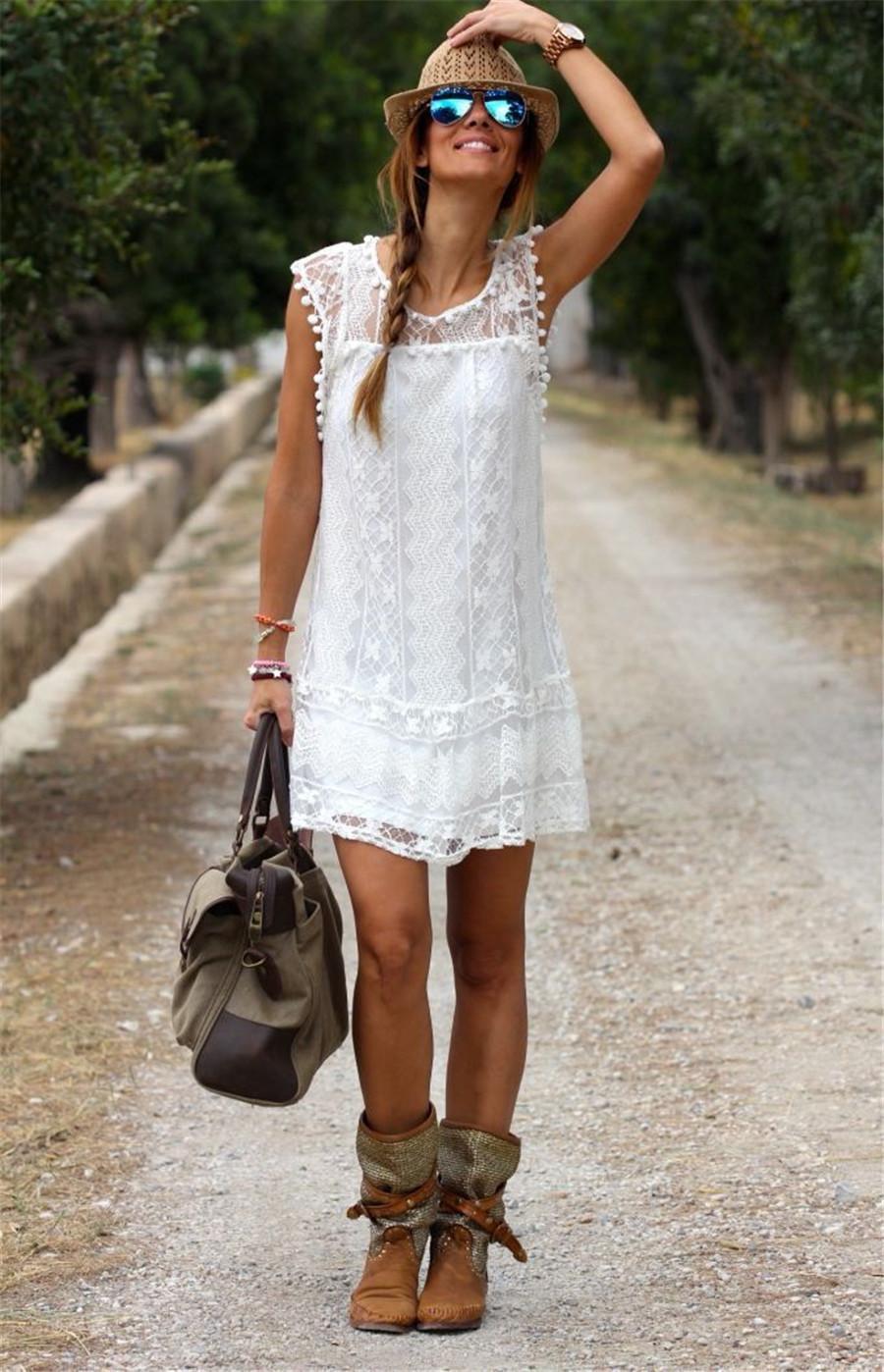 White Lace Sleeveless O-Neck Sexy Hollow Out Mini Dress 1