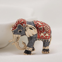 UALGL Fashion Joyeria De Moda Enamel Pin Elephant Brooch Elegant Lapel Pin Men Broche Vintage Antique Brooches For Women Jewelry