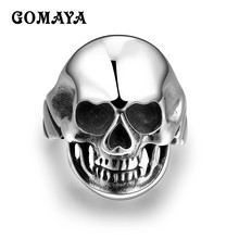 GOMAYA Black Skull Skeleton Rings 316L Stainless Steel Punk Rock Hip hop Vintage European Motor Biker Mens Anillos