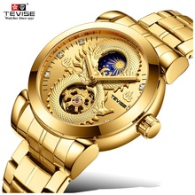 2019 TEVISE ثلاثية الأبعاد التنين ساعة الرجال الهيكل العظمي الميكانيكية ساعة القمر المرحلة مقاوم للماء التلقائي ساعة اليد رجالي المثبت دروبشيبينغ