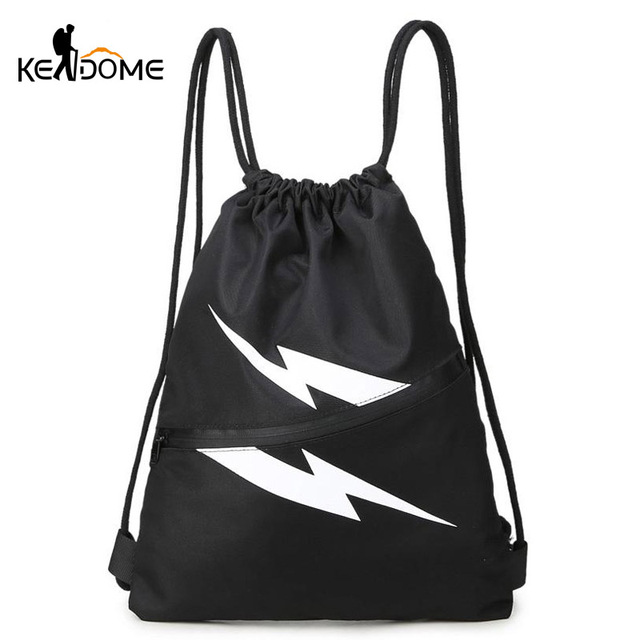 b84cc2529eb7 Gym Bag Men Women String Backpack Outdoor Leisure Backpacks Portable  Student School Bags Cool Lightning Sports Rucksacks XA162WD