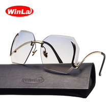 Winla Unique Oversized Shield Sunglasses Female Original Designer Gradient Vintage Eyeglasses Women Oculos De Sol UV400 WL1014