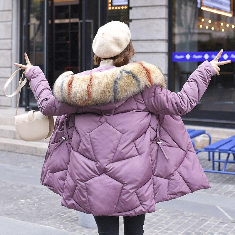 2019 Autumn Winter Long Coat Female Jacket Parkas Winter Jacket Women Faux Large Fur Collar Hooded Parka Women PP098