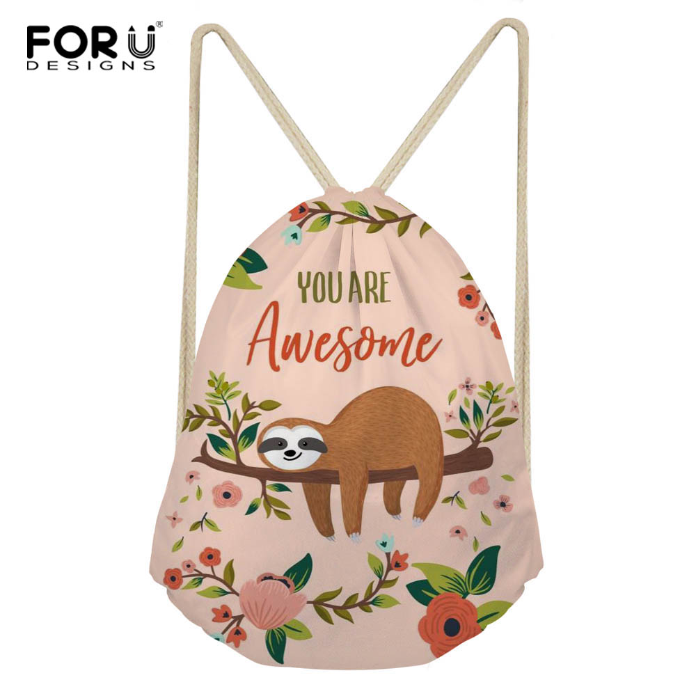 FORUDESIGNS Drawstring Bag Cute Animal Lazy Sloth Print Women's Mochila Storage Bags Cartoon School Bag Girls Shoulder Bags