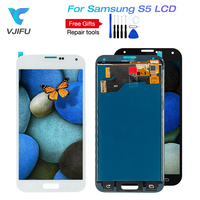 5pcs S5 LCD For Samsung Galaxy S5 SM G900 G900 LCD Display 100% Tested Touch Digitizer Screen Assembly Replacement +Frame glue