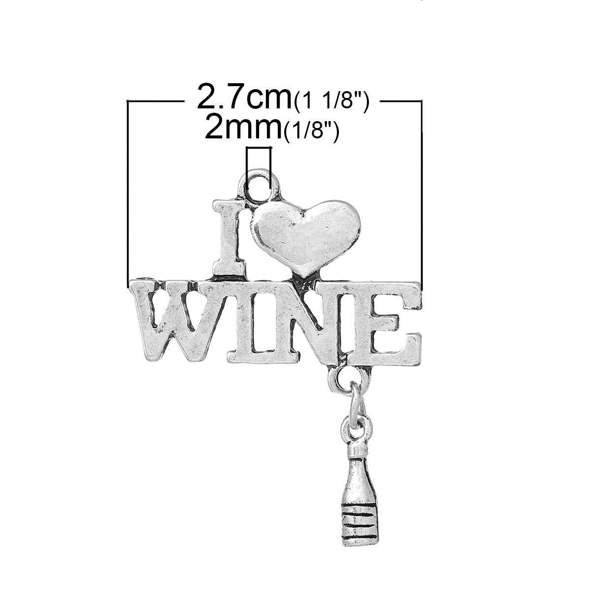 """DoreenBeads цинк Металл Подвеска из сплава Подвески бутылка античное серебро (может держать ss6 горный хрусталь) сердце """"вино"""" полые 35 мм x 27 мм, 1 шт."""