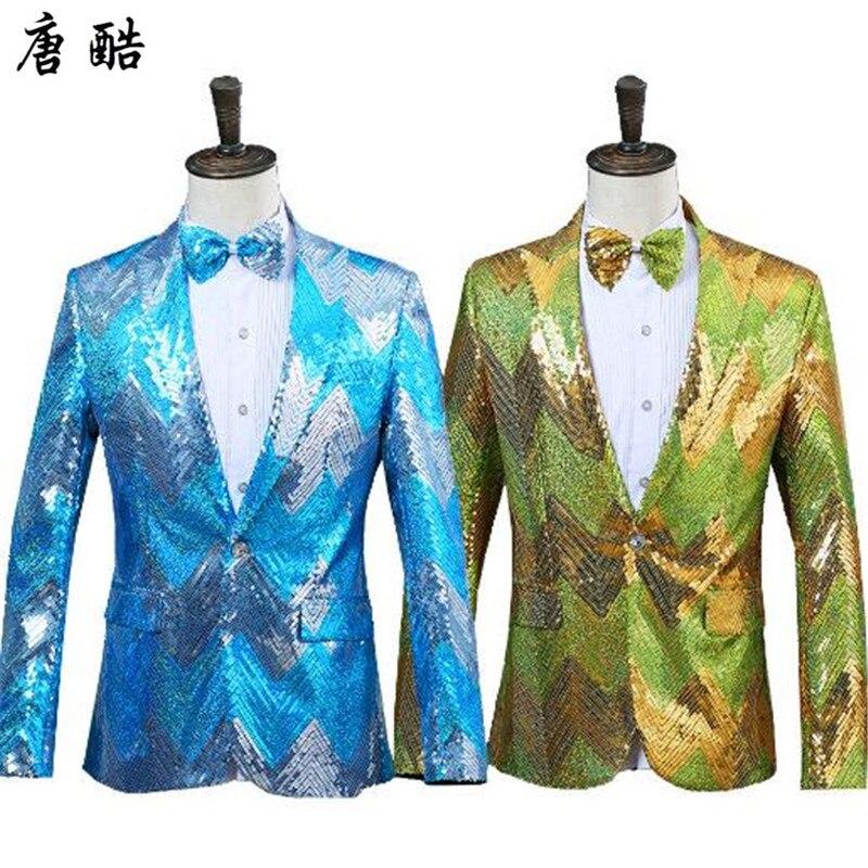 Tang cool marque hommes costumes manteaux paillettes costumes chanteurs scène manches longues et vestes