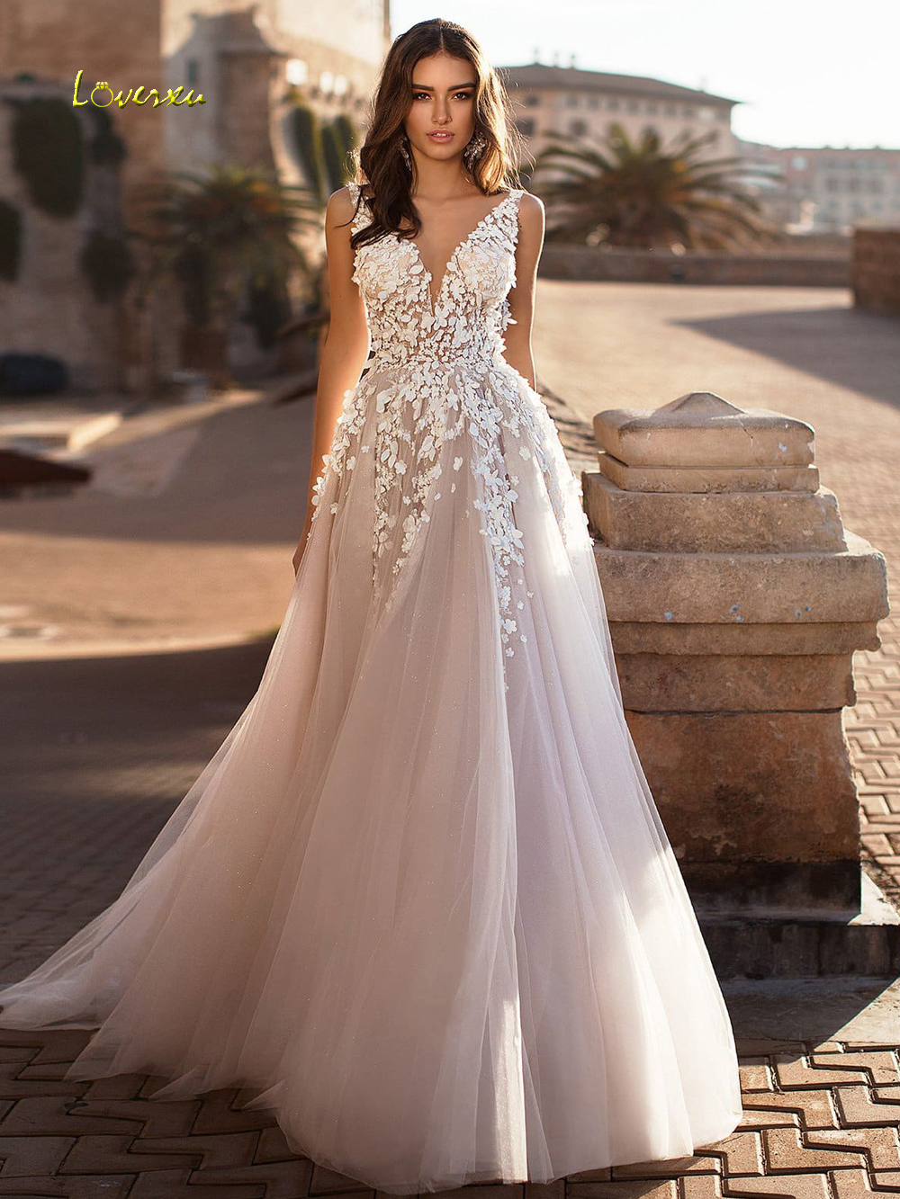 Loverxu Sexy Backless V Neck Flowers Vintage Wedding Dresses 2019