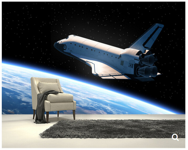 Custom papel DE parede infantilSpace Shuttle Orbiting Earth3D