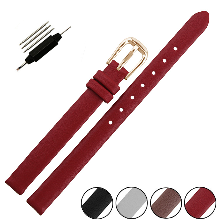 Carty New 6mm 8mm 10mm Genuine Cow Leather Watchband For Women Small Size Watch Straps Black Brown White Red Gold Buckle 6mm 8mm 10mm genuine leather ultrathin spun silk watchband for women ladies small size watch straps bracelet pin buckle
