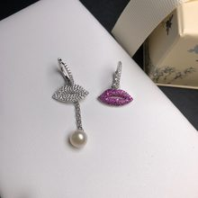 TIFF APM 925 Sterling Silver Stud Earrings, Asymmetrical Lips, Stylish and Glamorous ladies jewellery(China)