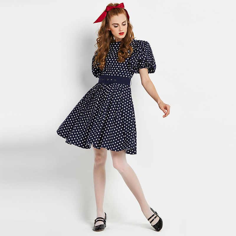 cdb16e5cc24ff ... Sisjuly vintage dresses 50s 60s polka dot a line dress o neck puff  sleeve party dark ...
