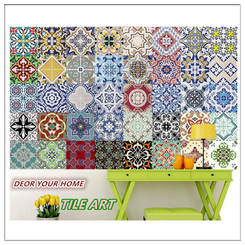 Lot of 10pcs Mediterranean style Self Adhesive Tile Art Wall Decal Sticker DIY <font><b>Kitchen</b></font> Bathroom Home Decor Vinyl A