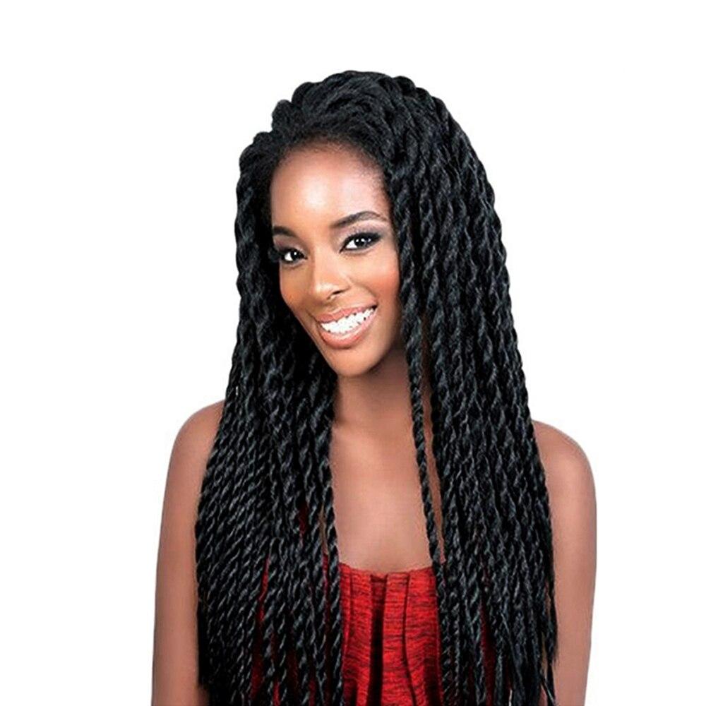 Feibin химическое Синтетические волосы на кружеве парик афро 2x твист косы Искусственные парики для черный Для женщин