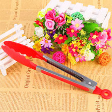 1pcs Colorful BBQ Kitchen Tongs Cover Handle Kitchen Lock Design Barbecue Clip Clamp  Stainless Steel Food Tongs