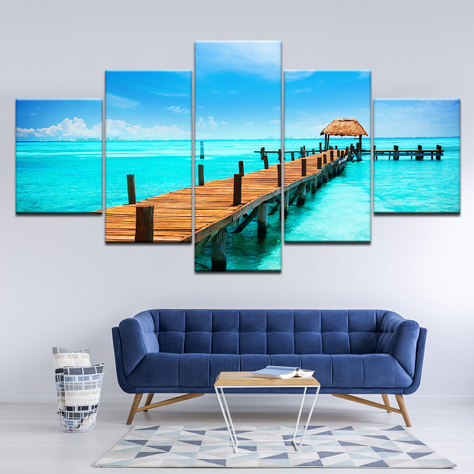 Canvas Painting Tropical island natural scenery 5 Pieces Wall Art Painting Modular Wallpapers Poster Print Home Decor