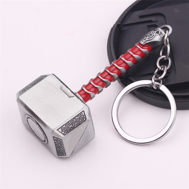 Thor Hammer Marvel Keychain SuperHeroe The Avengers Pendant Keychains Letter A Keyring Porte Clef Chaveiro Iron Man Key Holder 3