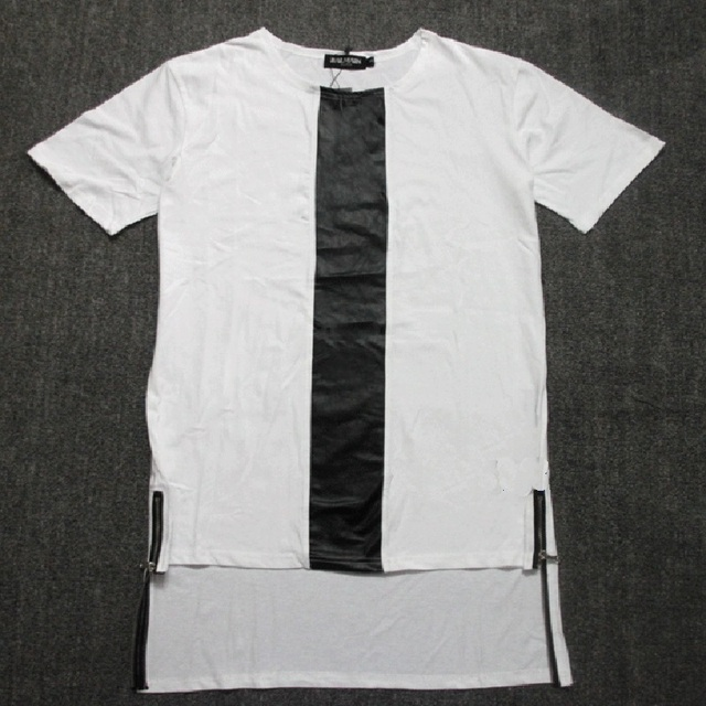2018 Fashion Korean Harajuku Ribbon Side Zipper Pathcwork T Shirt