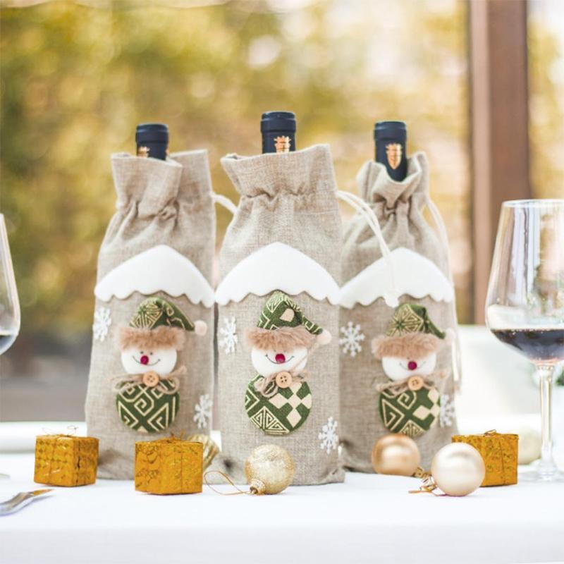 Creative Christmas Wine Bottle Holder Cover Gift Bag Novelty Dinner Party Table Red Wine Bottle Xmas Bags Decor Home & Garden