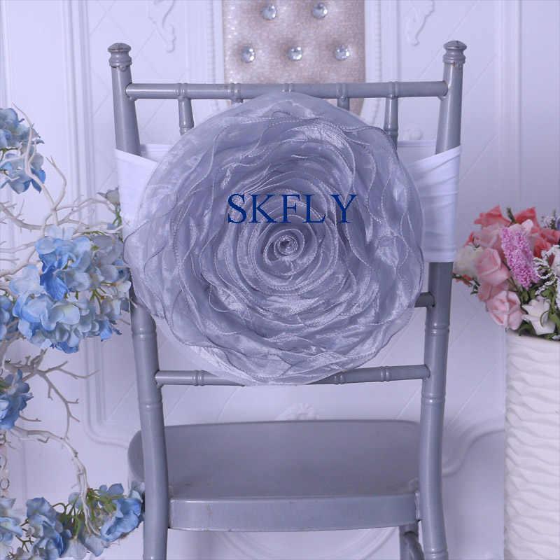 CH091Q 2019 Новое много цветов свадебное украшение большой органзы сиреневый стул искусственная Роза цветок с белой повязка из спандекса