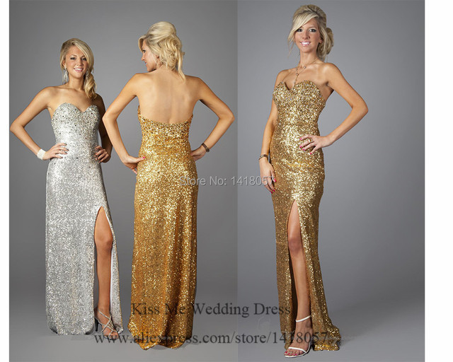 Luxury Glittering Silver Gold Evening Dresses 2015 Long Prom Gowns Sweetheart Side Split Vestido de Noche W617