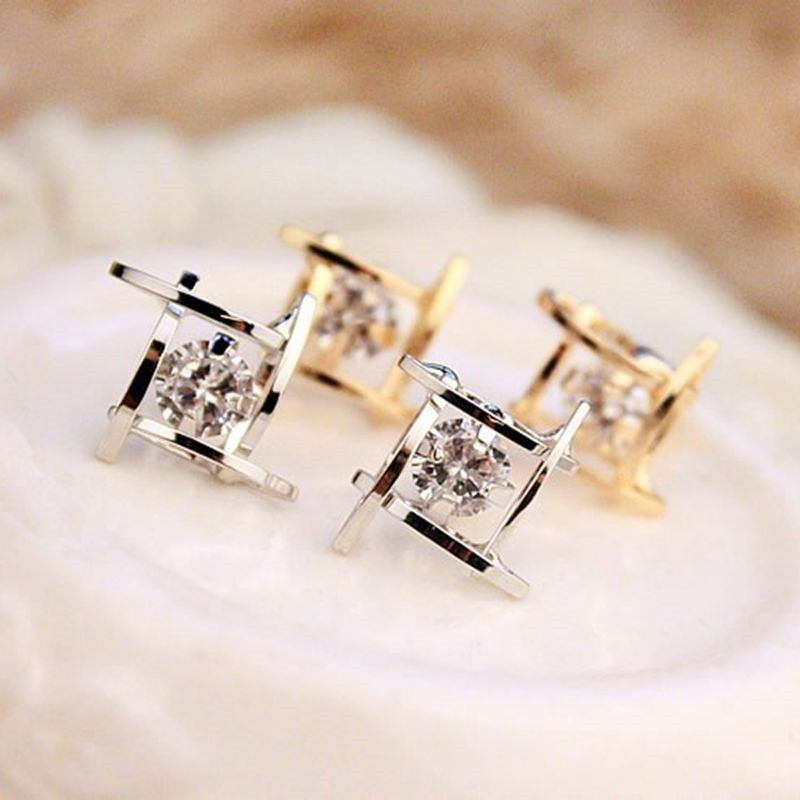 1 Pair Luxury Intersecting Parallels Square Rhinestone Crystal Stud Earrings Austria Cubic Zirconia Stone Crystal Gifts Jewelry