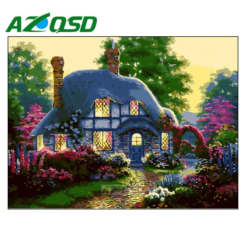 Arts,crafts & Sewing Shock-Resistant And Antimagnetic Azqsd Paint By Numbers On Canvas Frameless 40x50cm Acrylic Modular Digital Oil Painting Colors By Numbers Forest House Szyh198 Waterproof