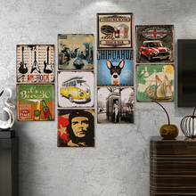 1pcs 30*30CM Creative Retro Iron Wall Decoration Old Bar Cafe Personality Sheet Painting Crafts Tin Vintage Sign