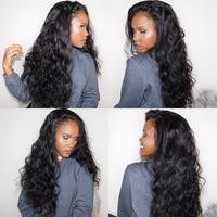 Glueless Полный конец 250% Плотность фронта шнурка человеческих волос парики для женщин бразильские волнистые волосы фронта al парик черный Remy Ever