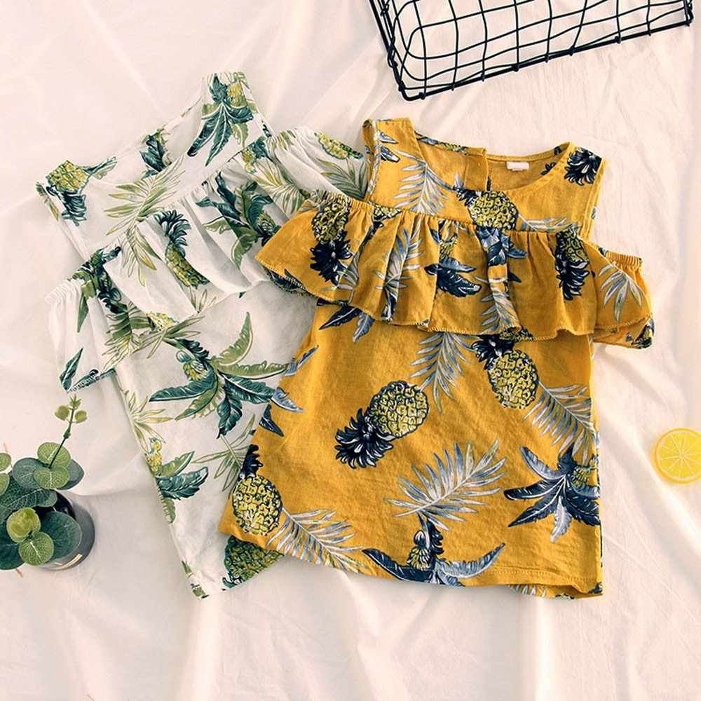 Toddler Kids Dresses Girls Cotton Casual Top Sleeveless Fruit Printing Top Ruffles Off Shoulder Girls Summer Princess Sundress