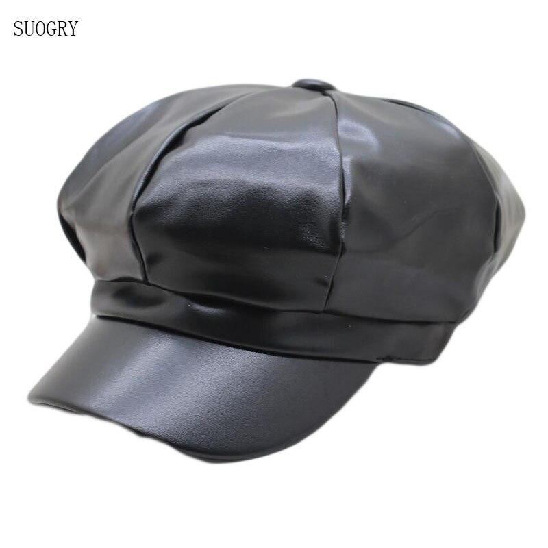 Octagonal Hat Pu Faux Leather Beret Hats for Women Winter Autumn Cap Female Boina Feminina Fashion Bone Gorras