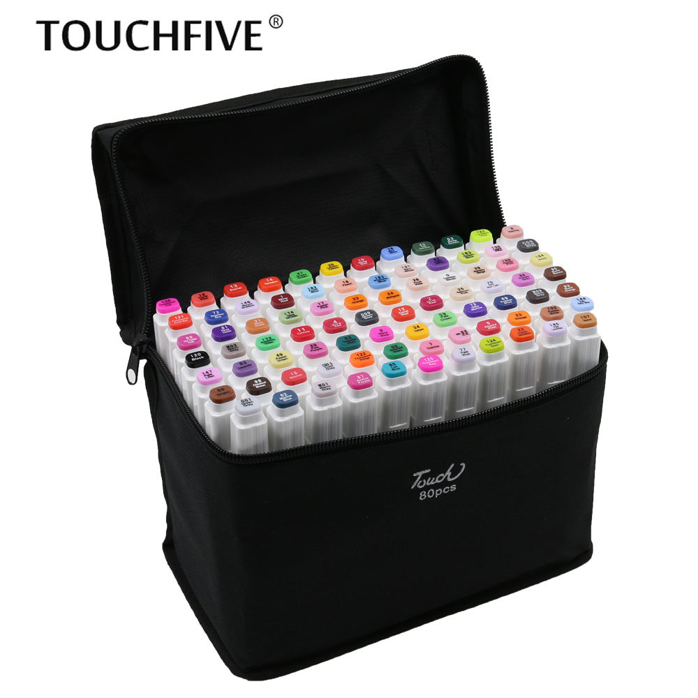 TouchFIVE sketch art Supplies mark pen Alcohol Marker pen soluble pen cartoon graffiti Art markers for designers markers 80 colors painting art marker pen alcohol marker pen cartoon graffiti dual headed sketch markers set art supplies black white