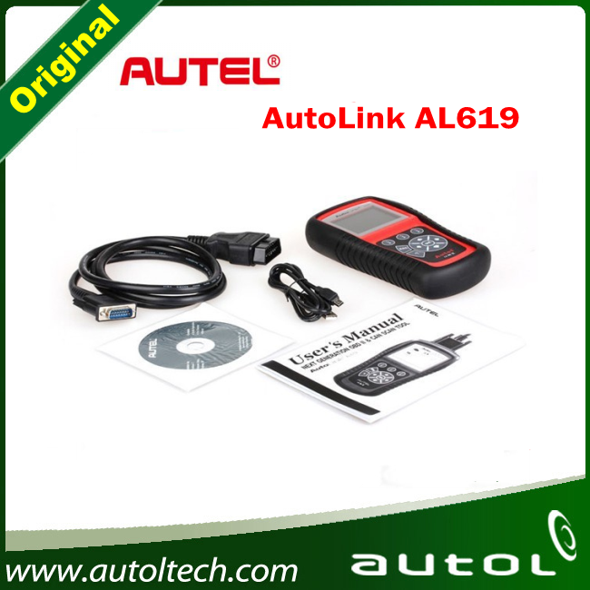 Autel Autolink AL619 ABS/SRS + CAN OBD2 Diagnostic Scan Tool Auto Code Reader Scanner with free shipping  free shipping original autel autolink al519 obd ii and can scanner tool obd2 code scanner