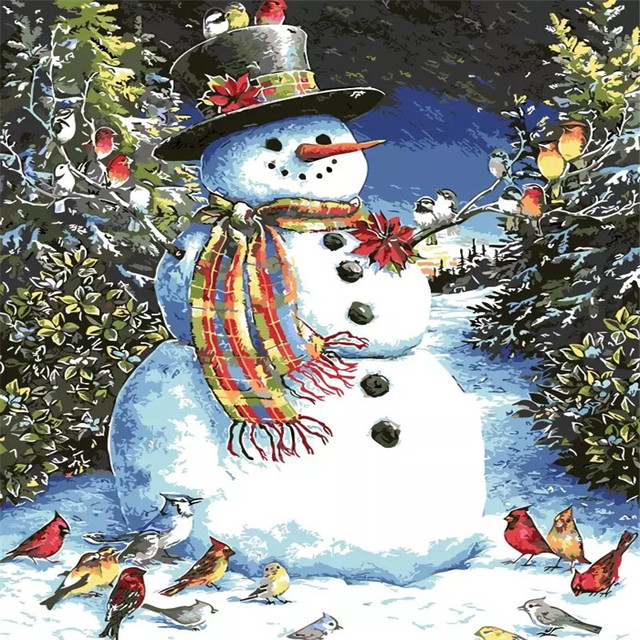 cute snowman diy painting by numbers kits coloring painting on