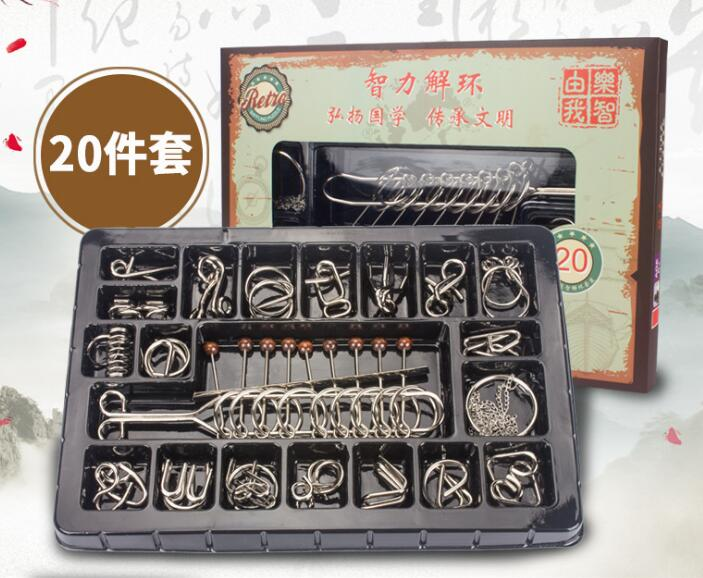 20PCS/Set IQ Mind Brain Teaser Metal Wire Puzzles Game Toys Solution with  Gift Box for Children Adults