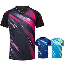 Новые быстросохнущие рубашки для бадминтона для мужчин/женщин, теннисные рубашки, Майки для настольного тенниса, футболки для настольного тенниса, спортивные футболки A117