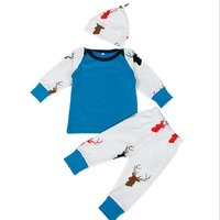 2017 Autumn Baby Clothing Sets Newborn Baby Boy Girl Deer Romper Pants Leggings Hat 3pcs Outfits