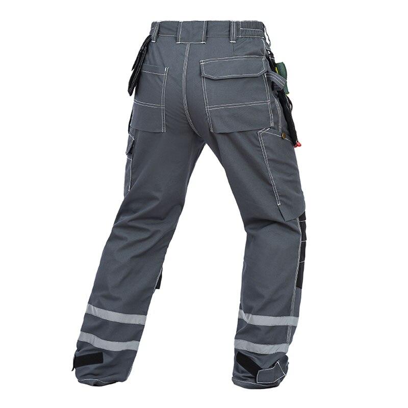 Для мужчин рабочих Брюки для девочек светоотражающие полосы мульти-карманы работы Мотобрюки с наколенниками износостойкость спецодежды Д...
