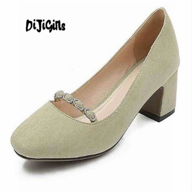 DIJIGIRLS sheep suede square toe square high heels women concise pumps shallow office lady big size 43 42 41 summer shoes ladies comfortable women office shoes sandals square heels spring 2017 real leather round toe solid high heels big size 40 41 42