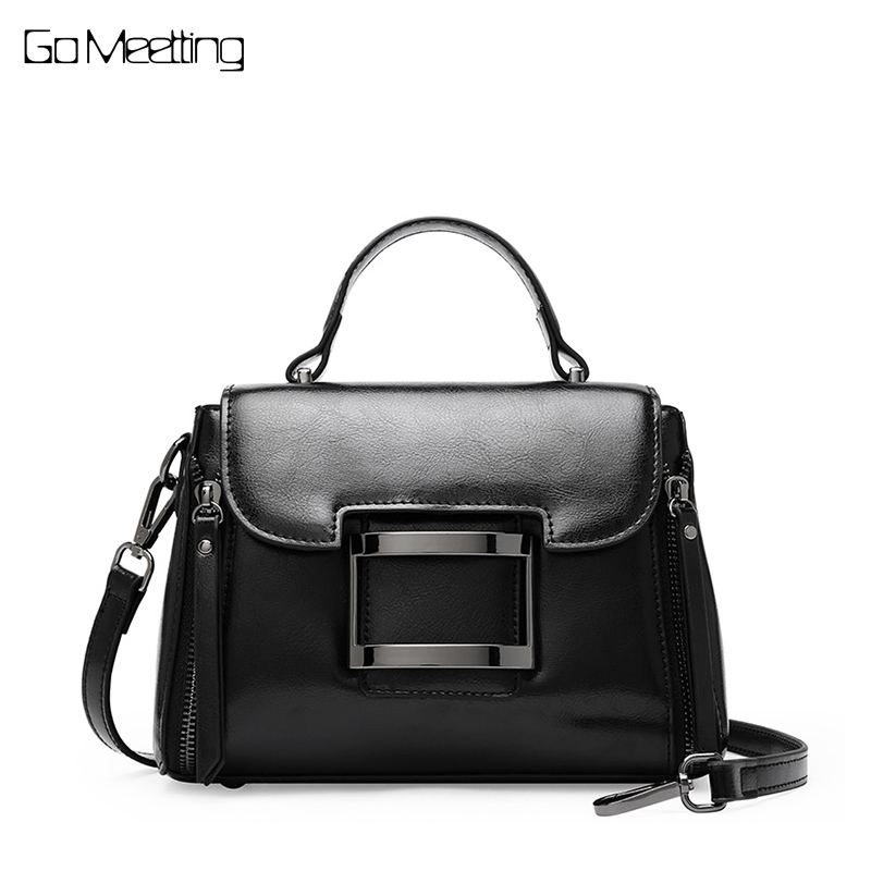 Go Meetting High Quality Women Bag Handbags Totes Solid Genuine Leather Shoulder Bags Wax oil Cow Leather Ladies Crossbody Bag go meetting brand genuine leather women handbags fashion alligator totes messenger bags high quality wax oil skin shoulder bag