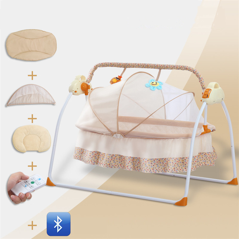 Electric Baby Swing 3 Color Automatic Baby Rocker cot Cradle with Music and Mosquito nets