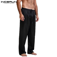 INCERUN Mens Silk Sleep Bottoms Polyester Lounge Wear Soft Breathable Trousers Elastic Waist Casual Loose Undersuit Plus Size