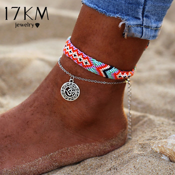 17KM Vintage OM Rune Weave Anklets For Women 2018 New Handmade Cotton Anklet Bracelets Female Beach Foot Jewelry Gifts 2 PCS/Set
