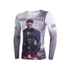 3D t shirts digital printing compressed t shirts men long sleeve captain America 3 Deadpool Superman
